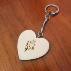 porte-clés forme coeur en bois avec personnalisé