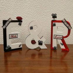 Lettres à poser - Vos initiales dans le thème de votre mariage / décoration de centre de table / exemple ici : le cinéma