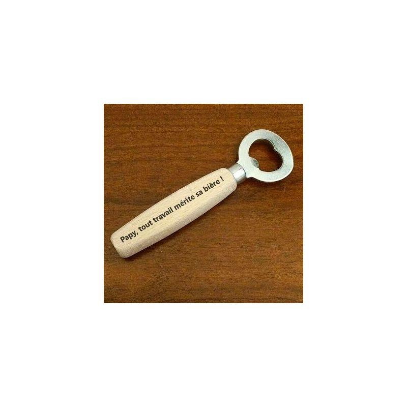 ouvre bouteille / décapsuleur avec manche en bois personnalisé avec petit texte de votre choix