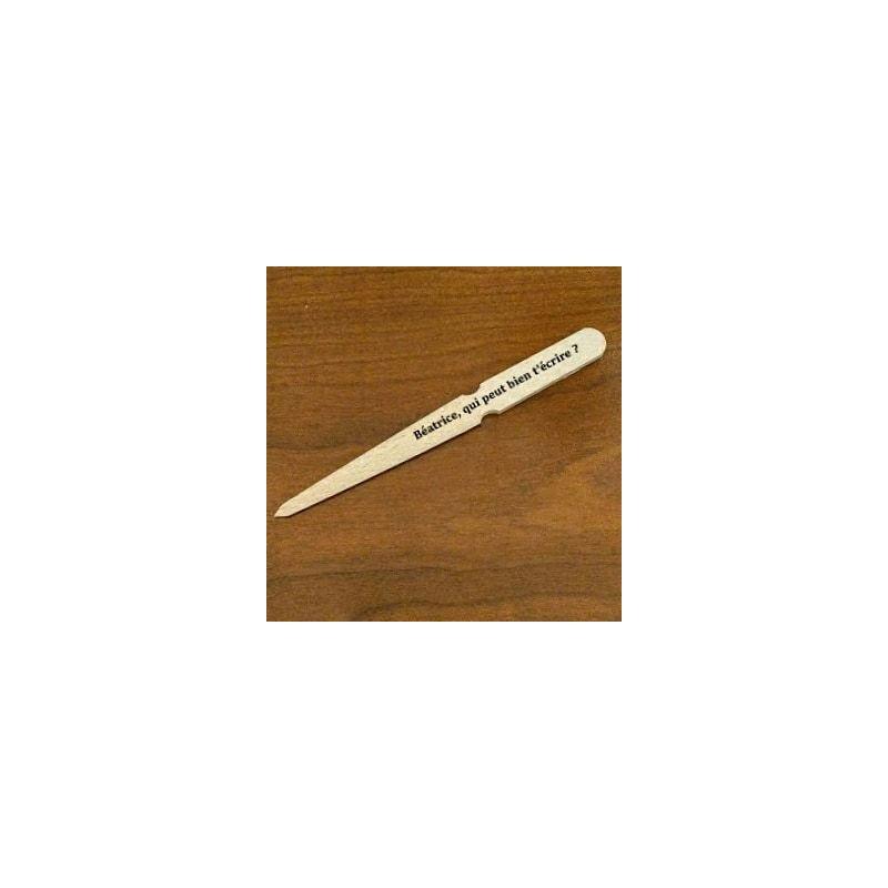 ouvre lettre / découpe papier en bois personnalisé