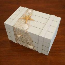 porte alliances : la boite rectangulaire en bois thème mer