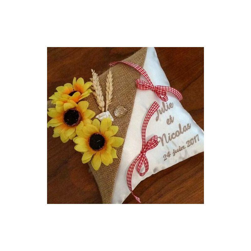 porte alliances personnalisé : le champêtre avec toile de jute, tournesol et épi de blé